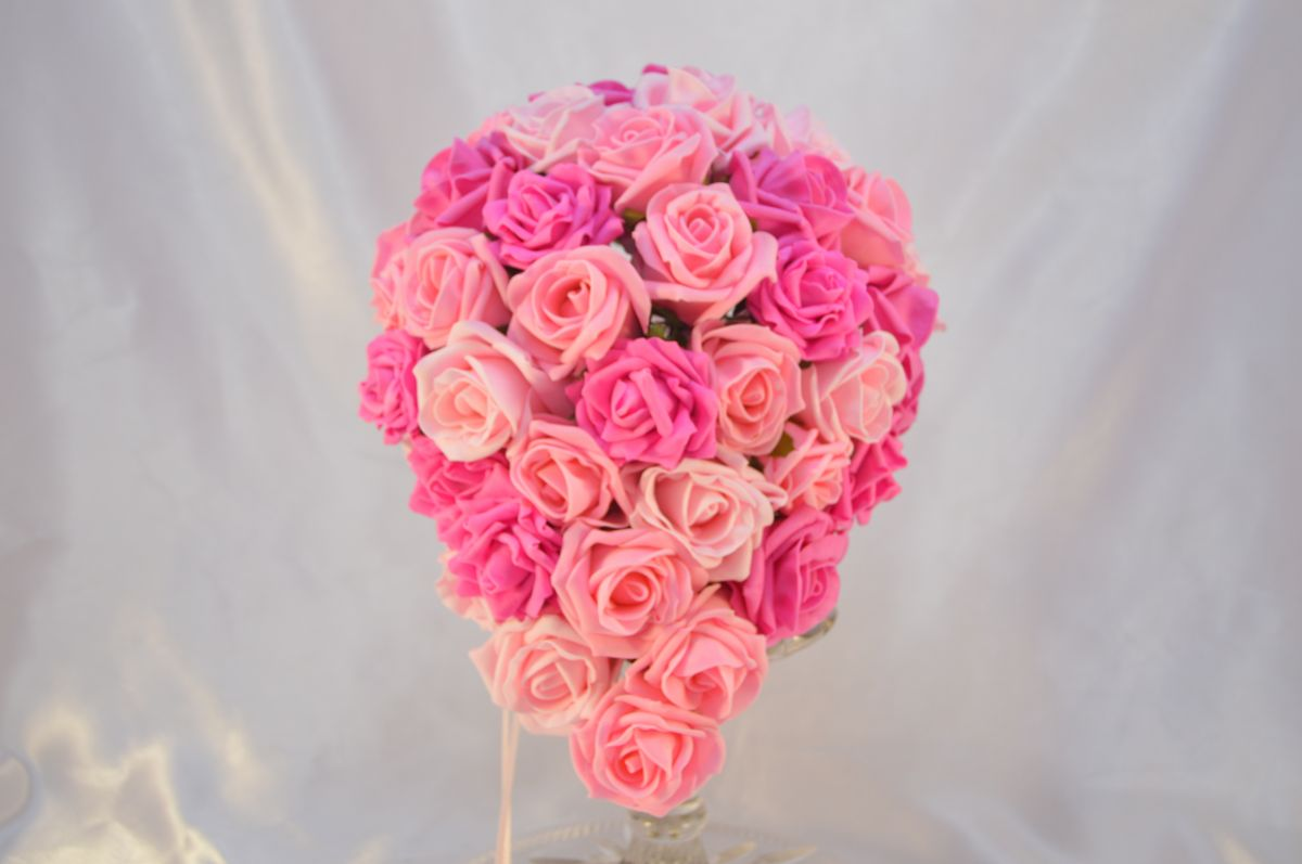 Brides Artificial Fuchsia Light Pink Baby Pink Rose Teardrop Wedding Bouquets By Design