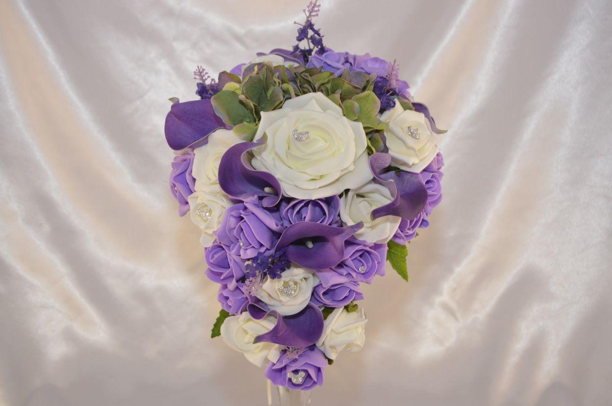 Brides Lilac Purple Ivory Rose Brides Tear Drop Wedding Bouquet