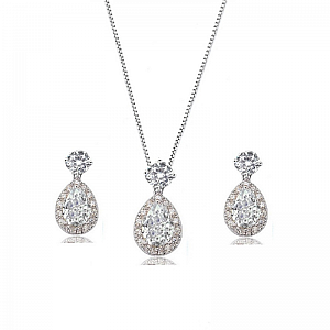 Dazzling Crystal Drop Jewellery Set