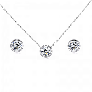 Solitaire Pendant Jewellery Set
