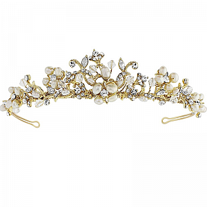 Serina Freshwater Pearl & Swarovski Crystal Tiara - 14K Gold Plated