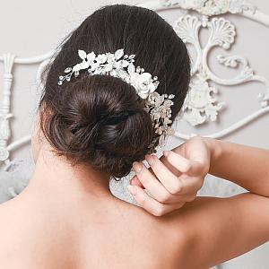 Silver Leaf & Porcelain Flowers Bridal Comb