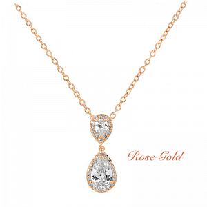Cubic Zirconia Chic Crystal Necklace - Rose Gold