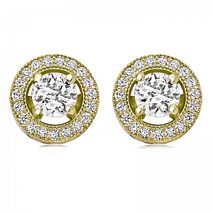 Cubic Zirconia Crystal Stud Earrings - Gold