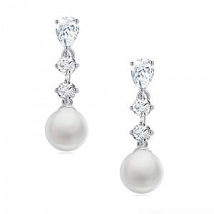 Pearl & Diamante Drop Earrings