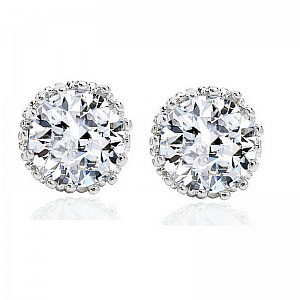 Cubic Zirconia Crystal Sparkle Stud Earrings - Silver