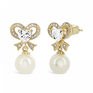 Eternal Pearl Bow Earrings - Gold