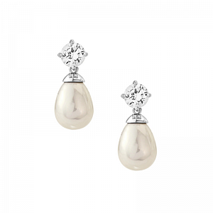 Pearl Drop and Diamante Earrings