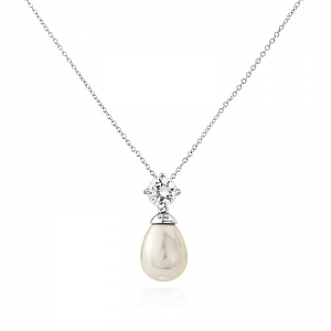Pearl Drop and Diamante Necklace
