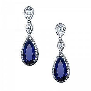 Sapphire Blue Teardrop Crystal Earrings