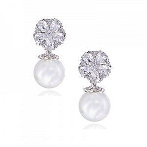 Cubic Zirconia Pearl Shimmer Earrings