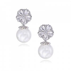 Cubic Zirconia Pearl Shimmer Earrings