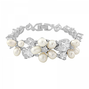 Freshwater Pearl & Crystal Wedding Bracelet