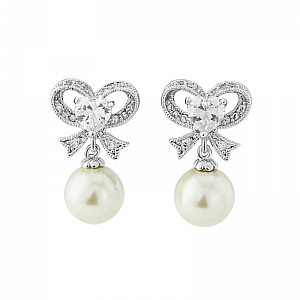 Eternal Pearl Bow Earrings - Silver