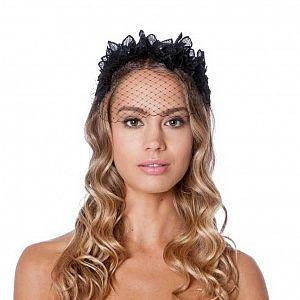 Flower Crown Black Fascinator with Veil