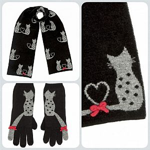 Flossy Cat Scarf & Gloves Set - Black