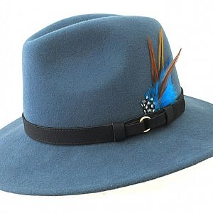 Wool Felt Ranger Fedora - Airforce Blue