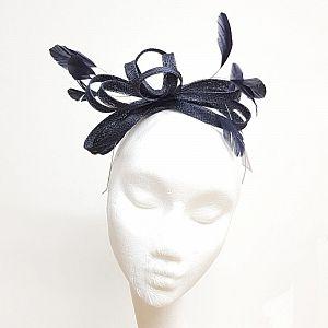 Dark Navy Fascinator on Headband