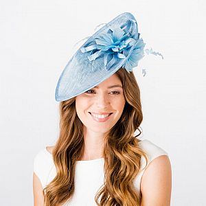 Sinamay Disc with Over & Under Brim Feather Flowers - Pale Blue