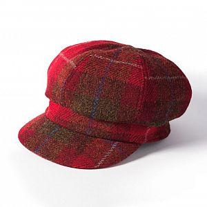 Ladies Harris Tweed Bakerboy Cap - Red