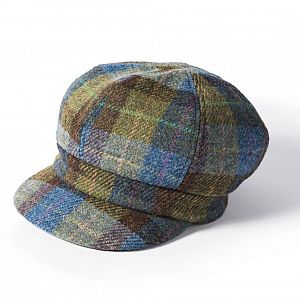 Ladies Harris Tweed Bakerboy Cap - Blue/Green