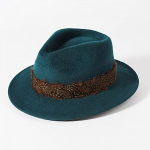 Failsworth Ladies Wool Fedora with Feather Band - Teal