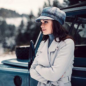 Ladies Harris Tweed Bakerboy Cap - Pale Blue