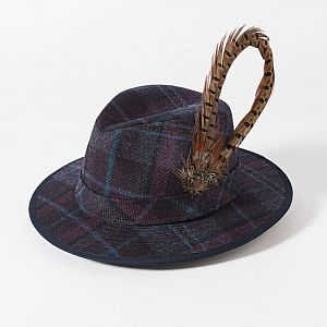 Failsworth Ladies Tweed Fedora with Large Feather