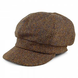 Ladies Harris Tweed Bakerboy Cap - Brown Herringbone
