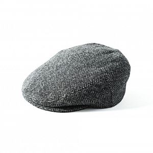 Harris Tweed Stornoway Cap - Grey/Black