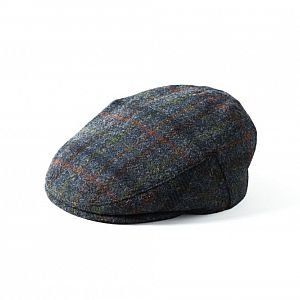 Harris Tweed Stornoway Flat Cap - Blue Check