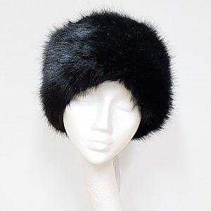 Black Faux Fur Cossack Hat
