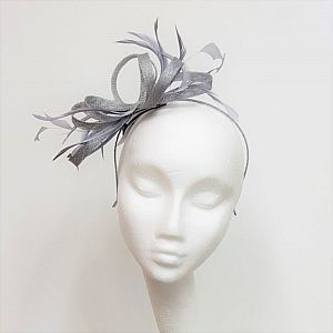 Grey Fascinator with Loops & Feathers