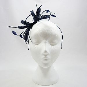 Navy Fascinator with Loops & Feathers