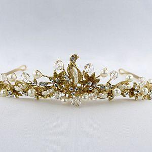 Pearl & Swarovski Gold Tiara