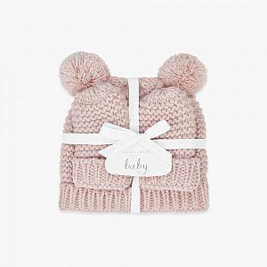 Katie Loxton Baby Hat & Mittens Set - Pink
