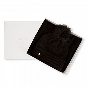 Katie Loxton Knit Boxed Hat and Scarf set - Black