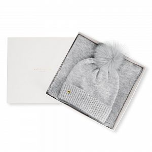 Katie Loxton Knit Boxed Hat and Scarf set - Pale Grey