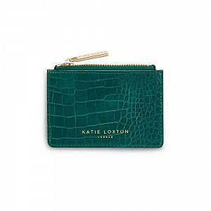 Katie Loxton Celine Faux Croc Card Holder - Forest Green