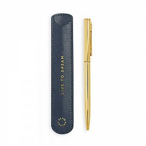 Katie Loxton Gold Pen with Sleeve - Live to Dream - Metallic Navy