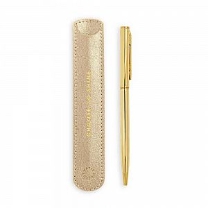 Katie Loxton Gold Pen with Sleeve - Choose to Shine - Metallic Gold