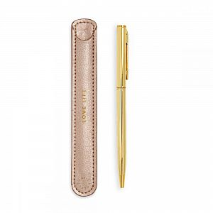 Katie Loxton Gold Pen with Sleeve - Love Life - Pink