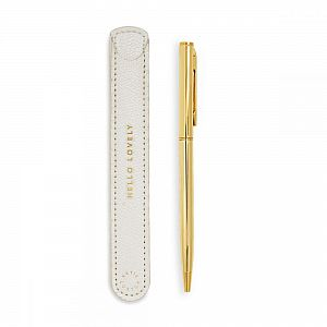 Katie Loxton Gold Pen with Sleeve - Hello Lovely - White