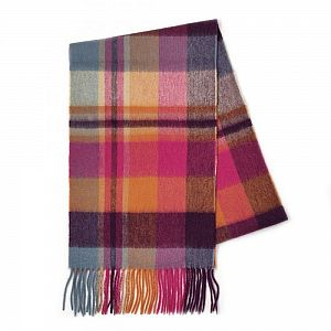 100% Cashmere Scarf - Orient Ginger Square Check