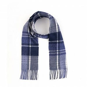 Kiltane Lambswool Scarf - Blue Princetown Check