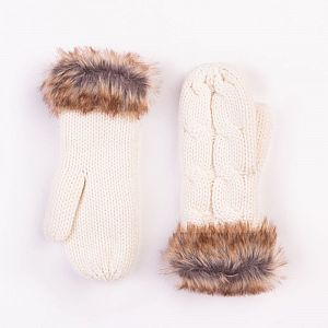 Cable Design Cream Mittens with Faux Fur Cuffs