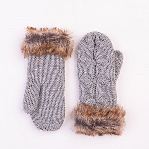 Cable Design Grey Mittens with Faux Fur Cuffs