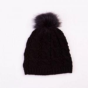Cable Design Faux Fur Pom Pom Black Hat