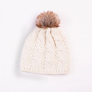 Cable Design Faux Fur Pom Pom Cream Hat