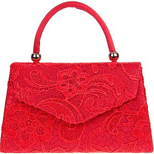Lace Handle Bag - Red